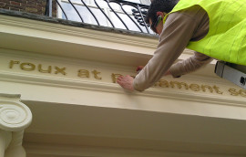 Brass Letters SIgn installation in London