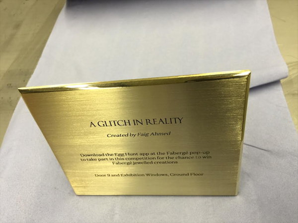 Brass Plaque chemically etched for Farberge